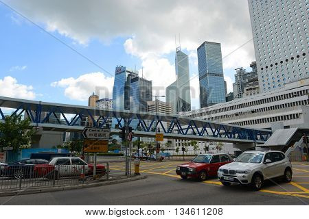 HONG KONG - NOV 9: Hong Kong Central Financial District skyscrapers and Bank of China Tower on Nov 9, 2015 in Hong Kong.