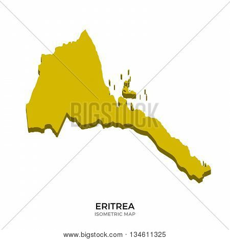 Isometric map of Eritrea detailed vector illustration. Isolated 3D isometric country concept for infographic