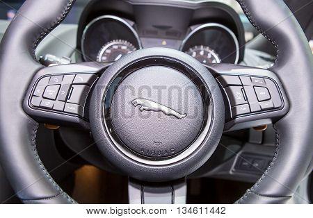 Bangkok - March 22 : logo of Jaguar on steering wheel - in display at The 37th Bangkok international Motor Show 2016 on March 22 2016 in Bangkok Thailand