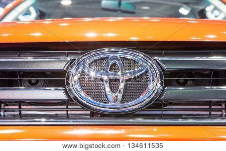 Bangkok - March 22 : logo of Toyota on bumper - in display at The 37th Bangkok international Motor Show 2016 on March 22 2016 in Bangkok Thailand