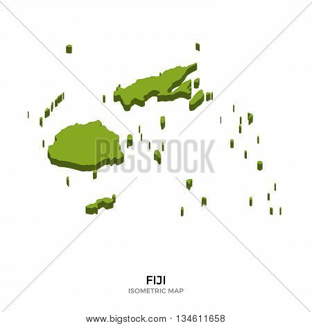 Isometric map of Fiji detailed vector illustration. Isolated 3D isometric country concept for infographic