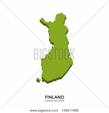 Isometric map of Finland detailed vector illustration. Isolated 3D isometric country concept for infographic
