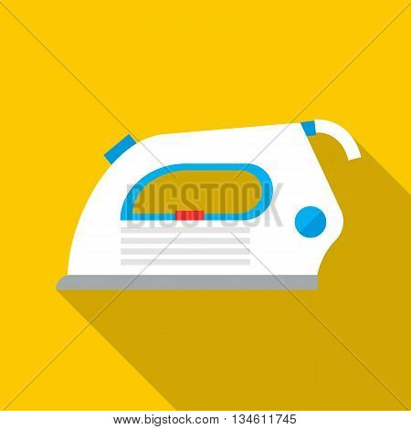 White iron icon in flat style on a yellow background