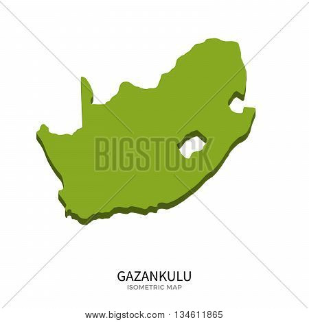 Isometric map of Gazankulu detailed vector illustration. Isolated 3D isometric country concept for infographic