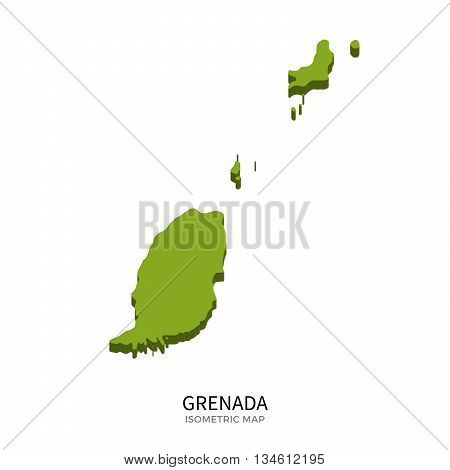 Isometric map of Grenada detailed vector illustration. Isolated 3D isometric country concept for infographic