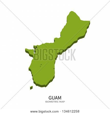 Isometric map of Guam detailed vector illustration. Isolated 3D isometric country concept for infographic