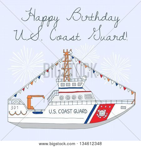 Hand-drawn U.S. Coast Guard day background, card, banner with boat