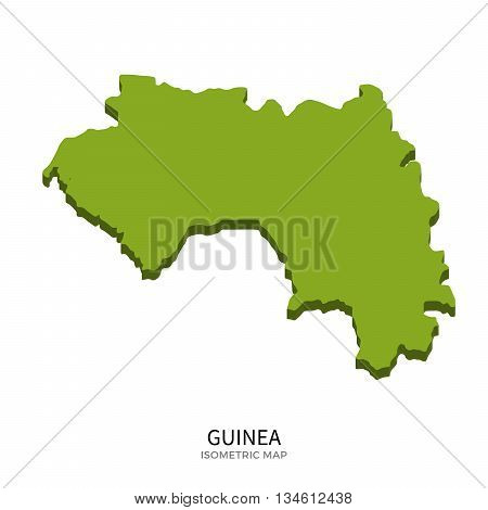 Isometric map of Guinea detailed vector illustration. Isolated 3D isometric country concept for infographic