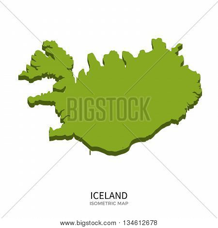 Isometric map of Iceland detailed vector illustration. Isolated 3D isometric country concept for infographic