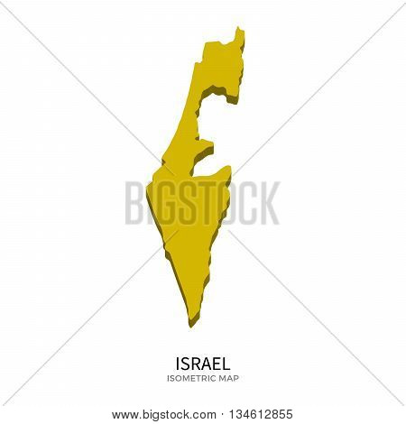 Isometric map of Israel detailed vector illustration. Isolated 3D isometric country concept for infographic