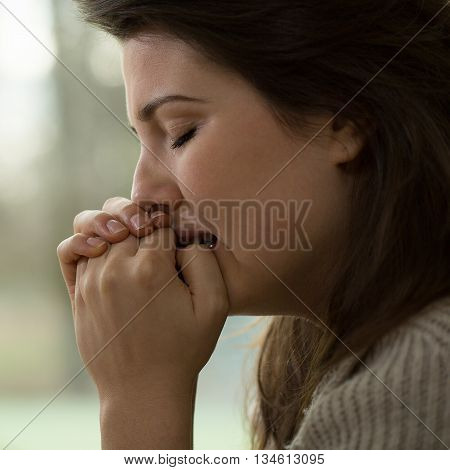 Young women with a nervous breakdown crying