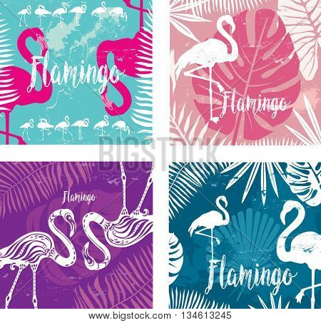 Summer posters set with flamingo