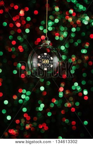 Christmas Ornament With Poker Game Lement