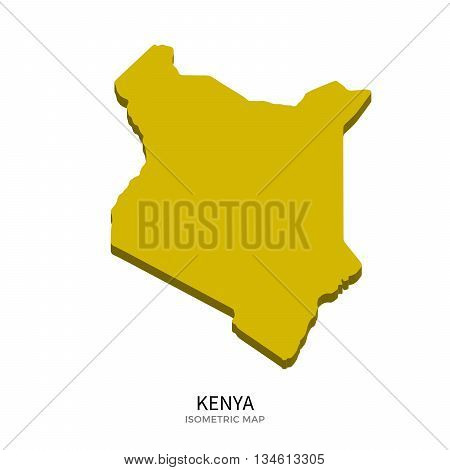 Isometric map of Kenya detailed vector illustration. Isolated 3D isometric country concept for infographic