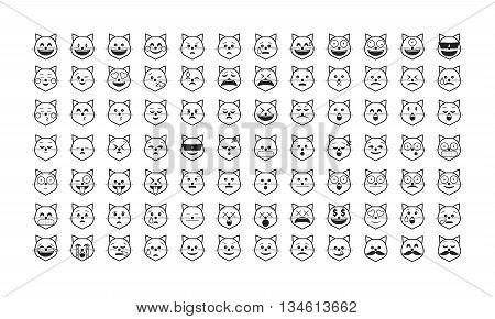 Set of cat  emoticon vector. Emoji vector. Smile icon set.  Emoticon icon web - stock vector.