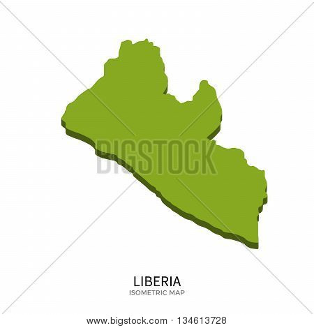 Isometric map of Liberia detailed vector illustration. Isolated 3D isometric country concept for infographic