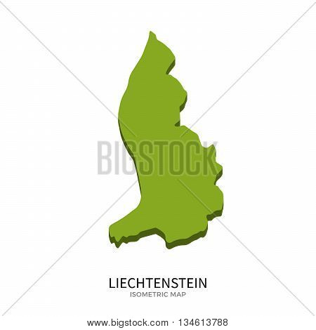Isometric map of Liechtenstein detailed vector illustration. Isolated 3D isometric country concept for infographic