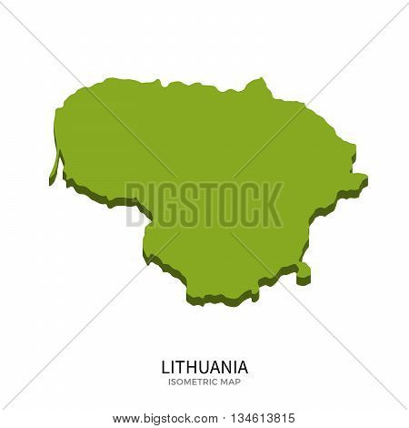 Isometric map of Lithuania detailed vector illustration. Isolated 3D isometric country concept for infographic
