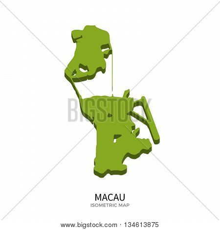 Isometric map of Macau detailed vector illustration. Isolated 3D isometric country concept for infographic