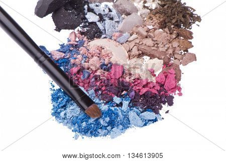 set of multicolor crushed eyeshadows isolated on white background