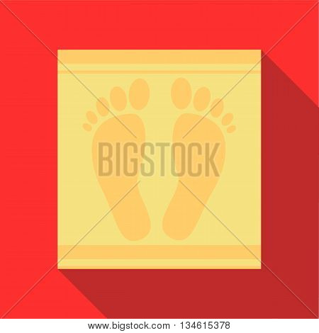 Bath mat icon in flat style on a red background