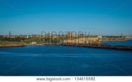 City of Newcastle, England as seen from a ferry ship