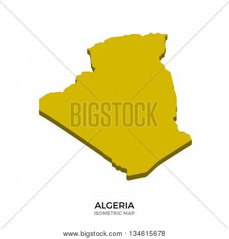 Isometric map of Algeria detailed vector illustration. Isolated 3D isometric country concept for infographic