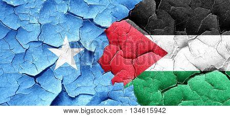 Somalia flag with Palestine flag on a grunge cracked wall