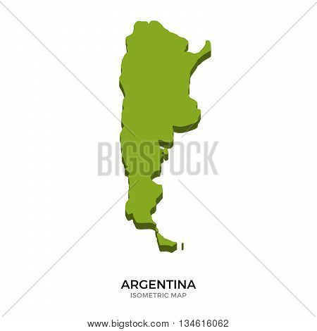 Isometric map of Argentina detailed vector illustration. Isolated 3D isometric country concept for infographic