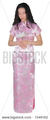 Asian Young Woman With Pink Dress
