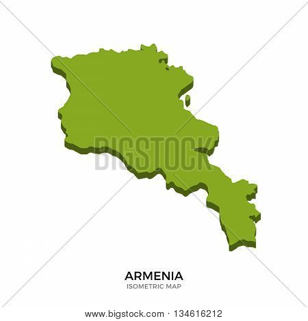 Isometric map of Armenia detailed vector illustration. Isolated 3D isometric country concept for infographic