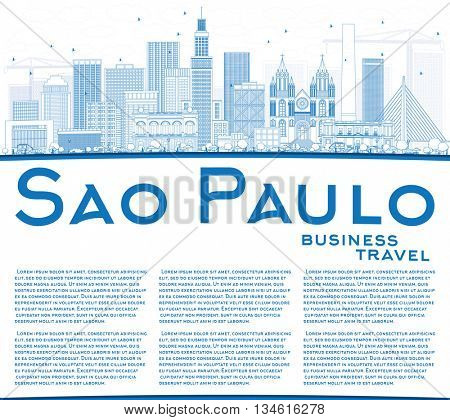 Outline Sao Paulo Skyline with Blue Buildings and Copy Space. Vector Illustration. Business Travel and Tourism Concept with Modern Buildings. Image for Presentation Banner Placard and Web Site.