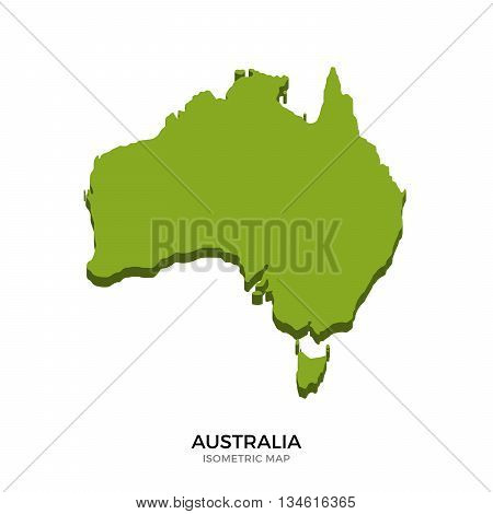 Isometric map of Australia detailed vector illustration. Isolated 3D isometric country concept for infographic