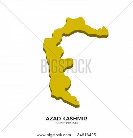 Isometric map of Azad Kashmir detailed vector illustration. Isolated 3D isometric country concept for infographic
