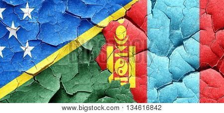 Solomon islands flag with Mongolia flag on a grunge cracked wall