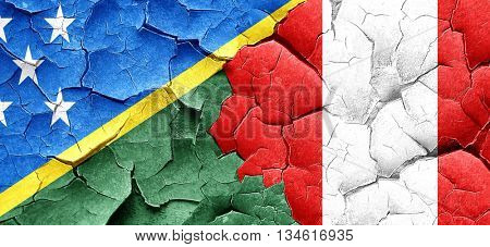 Solomon islands flag with Peru flag on a grunge cracked wall