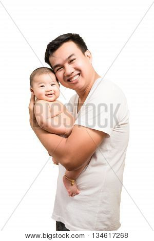 Happy Asian Father And Smile Son Isolated On White Background.