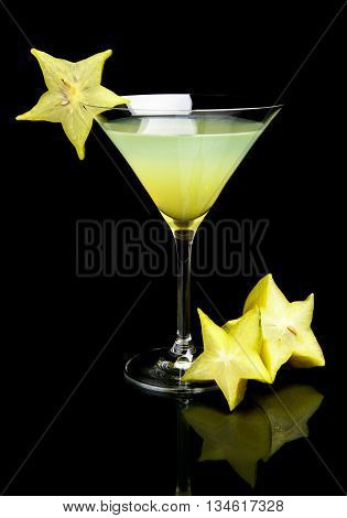 Cosmo Margarita Drink With Carambola Fruit On Black