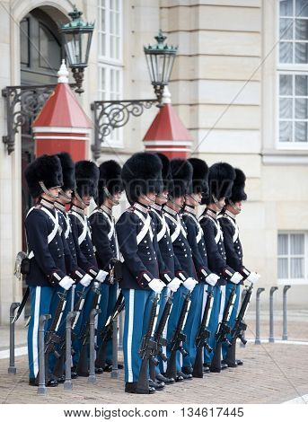 COPENHAGEN, DENMARK - MAY 17, 2012: Сhanging of the honor guard at the Royal Palace Amalienborg in Copenhagen