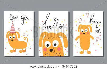 Cute hand drawn doodle birthday party baby shower cards brochures baby invitations postcards with happy dog.Stylish simple design. Vector illustration.