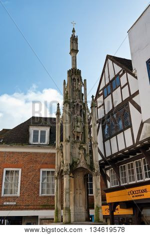 WINCHESTER, UK - FEBRUARY 07: The Winchester Buttercross. A buttercross is a type of market cross associated with English market towns, dating from medieval times. February 07, 2016 in Winchester, UK