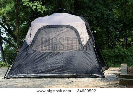 Tent set up at campsite Georgia, USA.