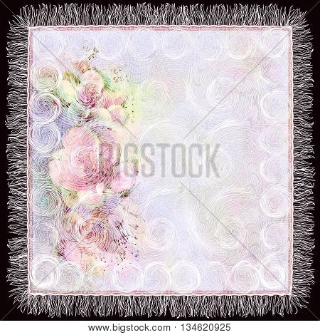 Openwork serviette with colorful floral pattern on grunge stripedswirled background in pastel colors isolated on black