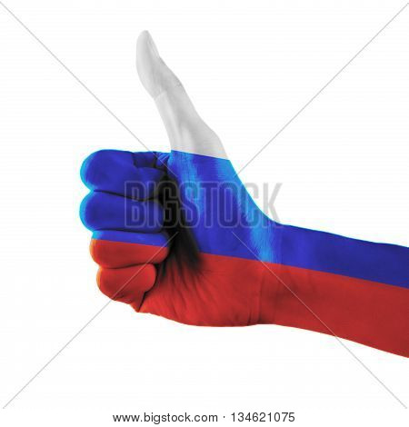 Russian Federation Flag Painted Hand Showing Thumbs Up Sign On Isolated White Background With Clippi