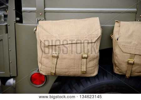a bag on the military car of US army