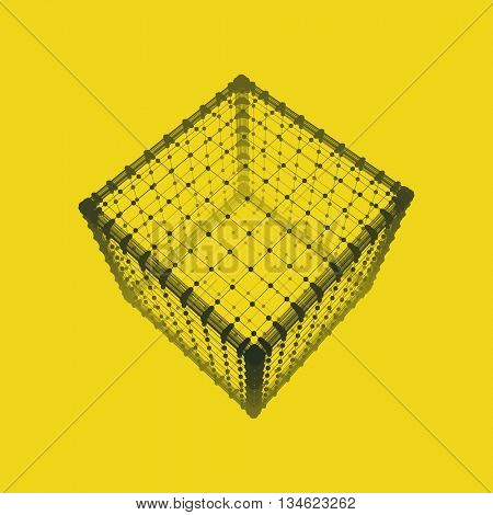 Cube. Platonic Solid. Lattice Geometric Element for Design. Wireframe Mesh Polygonal Element.