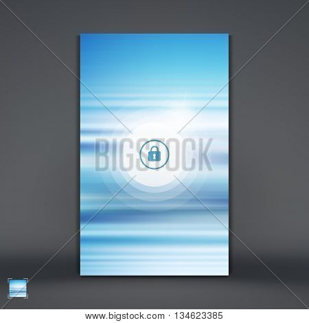Modern Lock Screen for Mobile Apps. Smartphone with Closed Lock. Abstract background with blue sky and clouds. Vector Illustration.