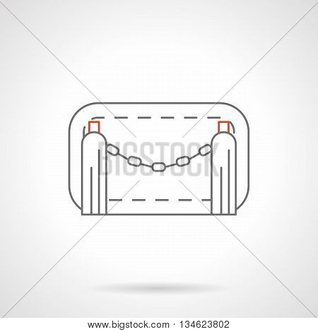 Chain road barrier for limiting and control access to parking, territory of pedestrian zones and restricted traffic. Fences, gates and barricades. Flat line style vector icon.