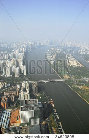 Guangzhou view from windows of Canton tower