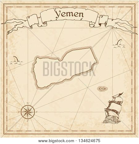 Yemen Old Treasure Map. Sepia Engraved Template Of Pirate Map. Stylized Pirate Map On Vintage Paper.